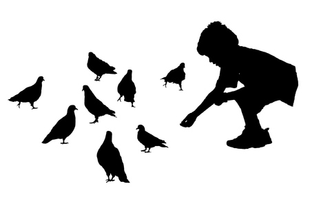 The boy allures and feeds pigeons Vector