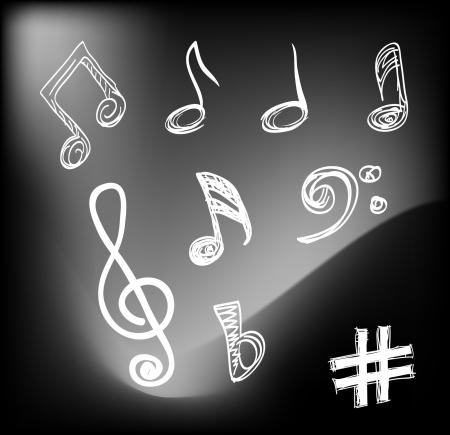 crotchets:  Musical notes  Illustration