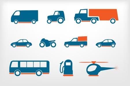 Icons set vehicles Illustration