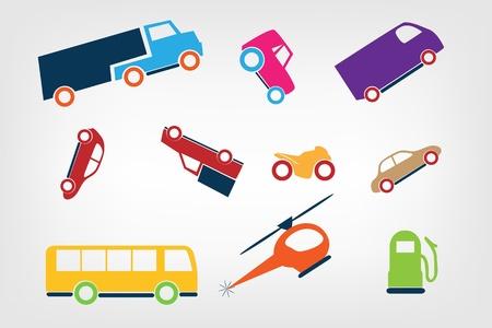 Color transport icons Illustration