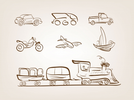 Transportation icons set on white background Vector