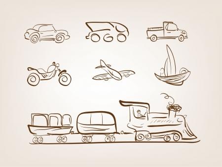 Transportation icons set on white background Illustration