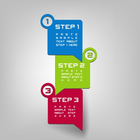 step by step: Three steps Illustration