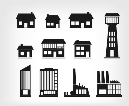Building icons Stock Vector - 16816431