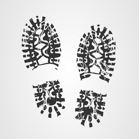 walking shoes: Boot print Illustration