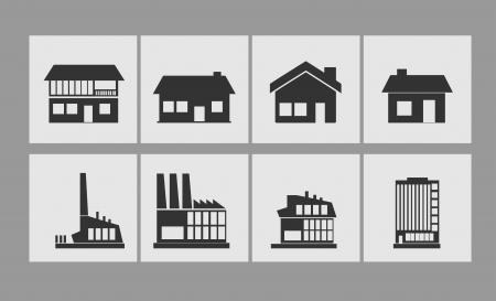 architecture pictogram: Building icons set