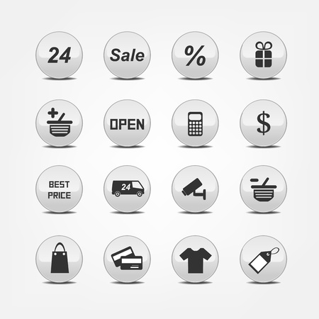 cash dispense: Set pictogram supermarket services, Shopping Icons