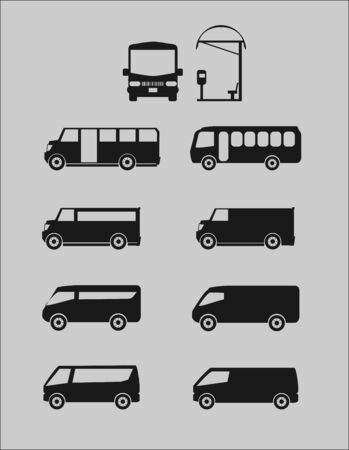 set of different bus Vector