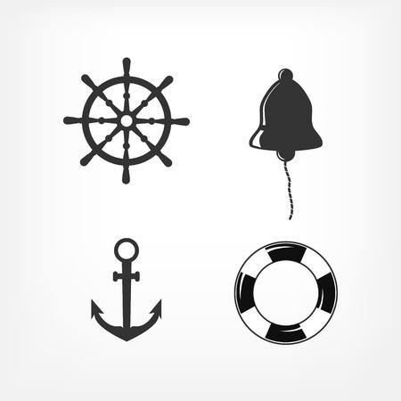ship sign: Set of Nautical Icons