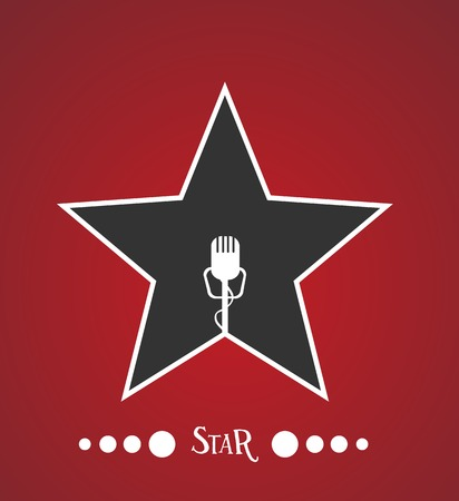 rock star: Star with microphone inside Illustration