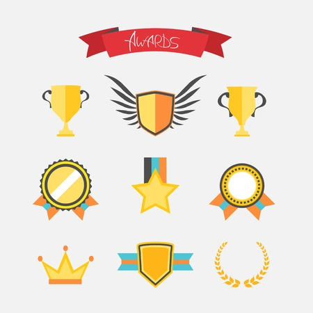 Flat style trophy and awards icons set