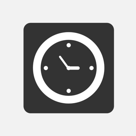 Black clock icon flat style, on white background Vector
