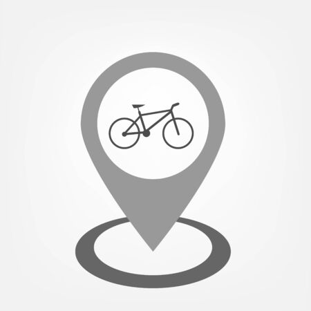 Flat style pointer with bicycle sign inside