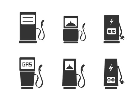 Gas pump and electric vehicle charging station icons set Illustration