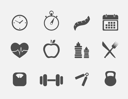 food healthy: Fitness and sport icons colection flat style Illustration