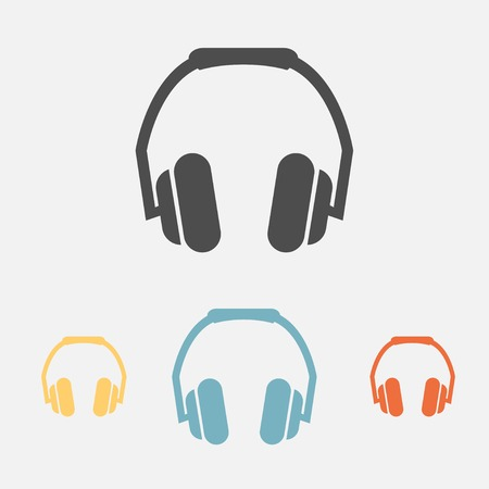 Headphone icons set with four different colors