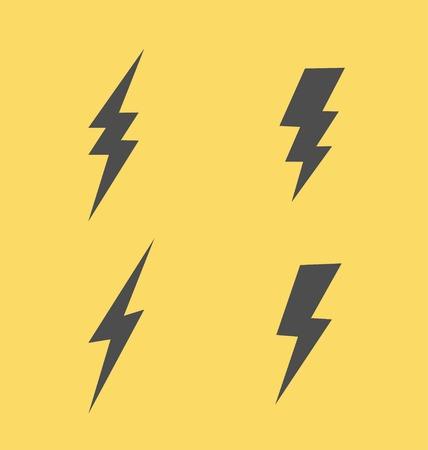 Iconos planos del relámpago Estilo simple establecidos en fondo amarillo