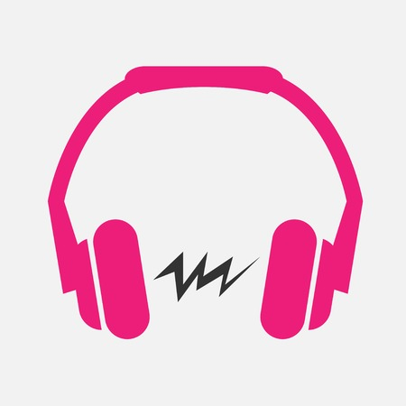 Pink Headphones flat icon with sound wave inside