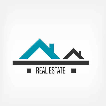real: Design template make from home roofs and Real estate worlds Illustration