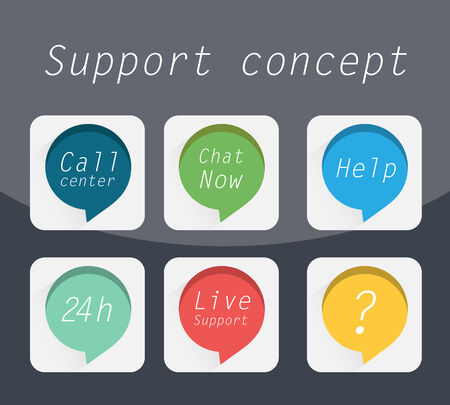 technical service: Flat icons set, Call center, Chat now, Help