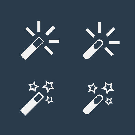 Four different magic wand flat icons on dark background