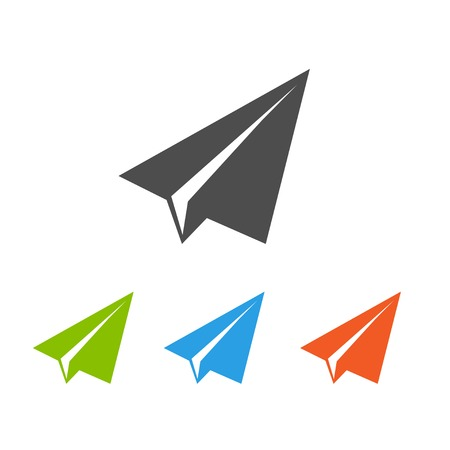 Paper airplane flat icons