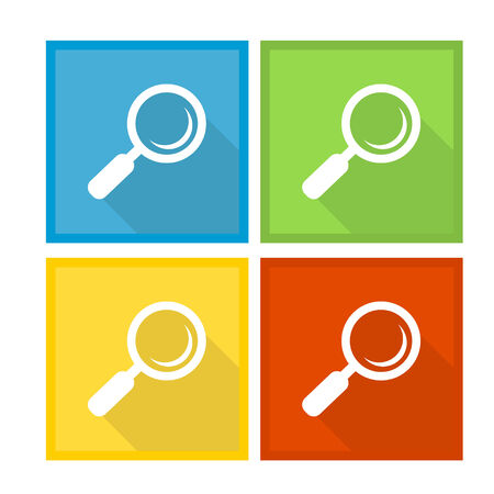 Magnifier Glass and Zoom Icons Illustration