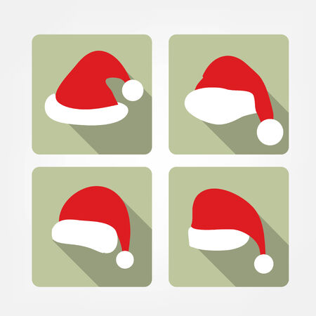 winter hat: Santa hat flat icons Illustration