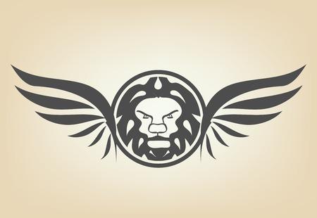 winged lion: Cabeza de león con alas