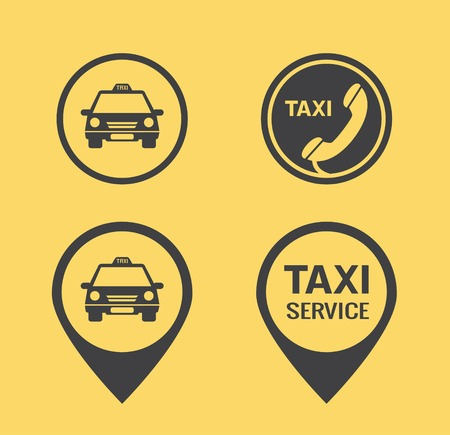 Taxi icons and Pointers Illustration