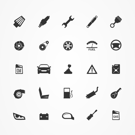 car tires: Car parts icons set