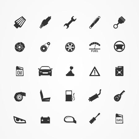 Car parts icons set