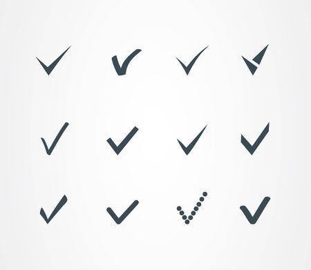 Check mark icons set Illustration