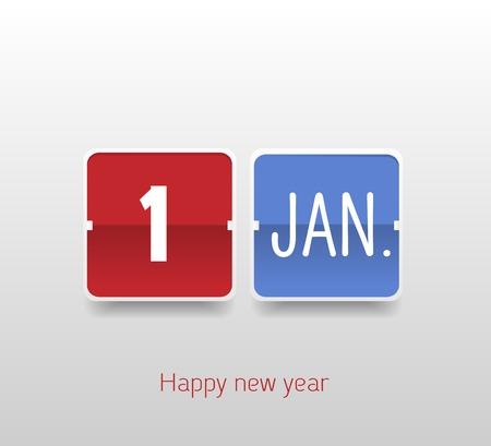 Happy New Year 1 Jan Calendar Illustration