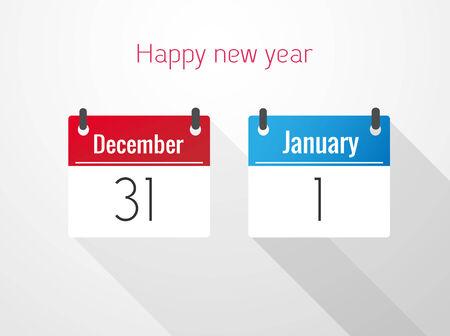 calendario diciembre: feliz año nuevo Calendario De 31 diciembre hasta 1 enero Vectores