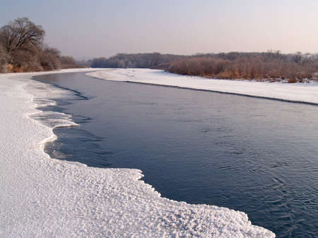 Riverheads of Ussuri in the winter morning Stock Photo - 14079516