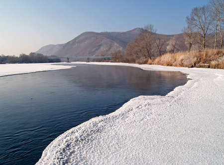 Riverheads of Ussuri in the winter morning photo