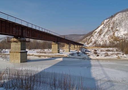 ussuri: Winter landscape with railway bridge