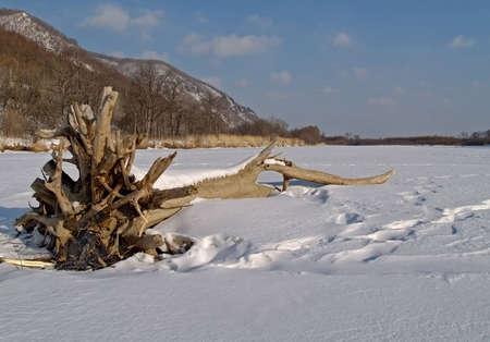 ussuri: On river in winter, Ussuri, Russia