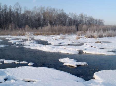 ussuri: Winter landscape on river bank