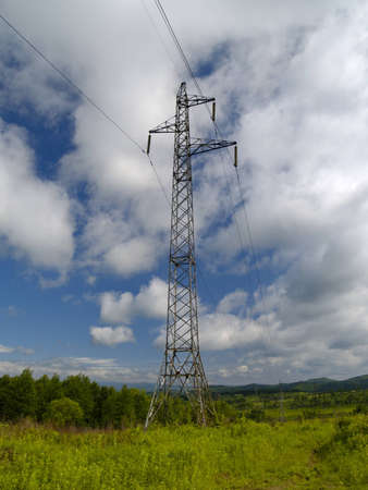 The Year landscape with electric power line photo