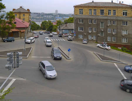 Crossroads of streets - an old city, Vladivostok, Russia