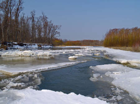 Landscape with the destroyed ice on spring river photo