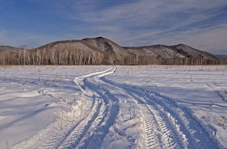 Winter landscape with car trace on a snow-covered field Stock Photo