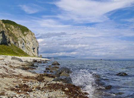 Sea of Japan, landscape with stony sea coast Stock Photo