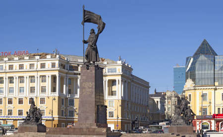 Monument on a central square of the Russian city of Vladivostok Editorial