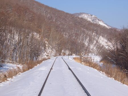 Winter landscape with railway tracks