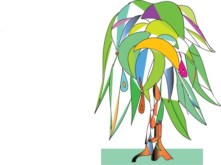 tree, fruit, leaves, the palm tree, trunk Illustration