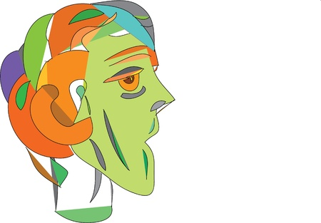 man s head  alien, eyes, shape, pupils, round, Illustration
