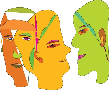 head; face; angle; color; profile; silhouette; position; opinion;  Illustration